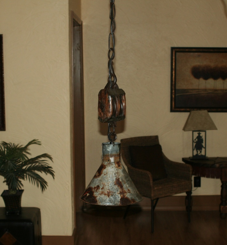 The Rustic Sailor Pulley Pendant Light Wooden Pulley By: Miles Of Texas Rustic Furniture