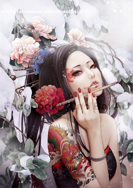 Arte de la artista XiaoBaitArt (Zhang Xiao Bai), vía deviantart. Título: JX 3 to paint a Camellia.