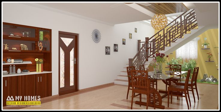 Wooden dining table designs kerala kerala dining hall for Dining hall wall design