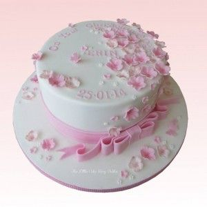 Pretty pink and white floral cascade Christening Cakewww.littlecakefairydublin.com www.facebook.com/littlecakefairydublin
