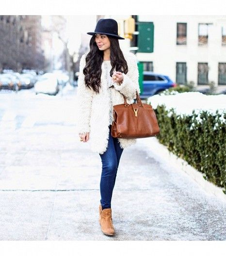 @Who What Wear - Kattanita is wearing: Seychelles boots, J.Crew hat, Theory sweater, Zadig & Voltaire coat, Yves Saint Laurent bag, J Brand jeans.  Get The Look:  Seychelles Lucky Penny Suede Booties ($140)  ​See more ways to wear ankle boots on Pose.com.