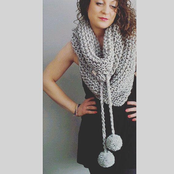 Tri-A-Pompom Scarf - chunky knit scarf, triangle scarf with pompoms, triangle scarf, shawl, knit shawl, thick scarf, knit wrap