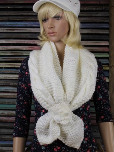 Knitted-Shrug-Scarf-with-Cable-Knit-Flower-Floral-Faux-Tie-3-Colors Fringe, Flowers and Frills