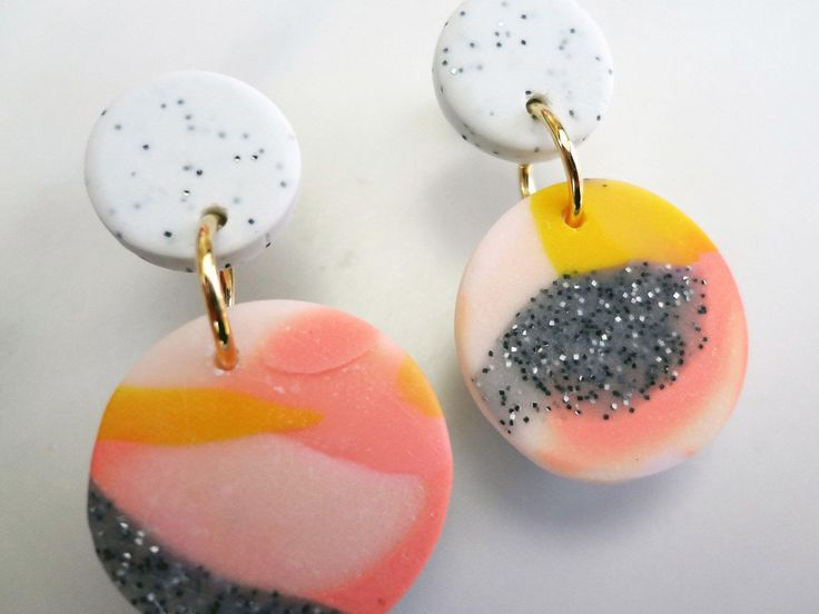 Polymer Clay Pink, Yellow and Grey Drop Stud Earrings by thesleeplesscreative on Etsy