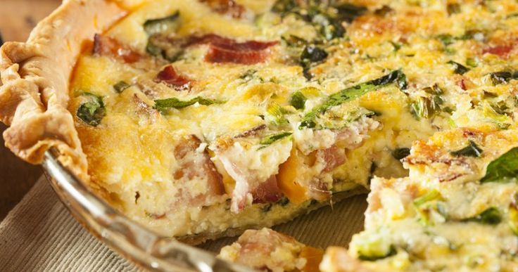 Caramelised onion quiche with cheddar and bacon