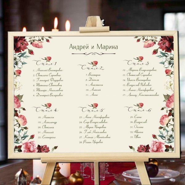 Садовые розы - План рассадки гостей