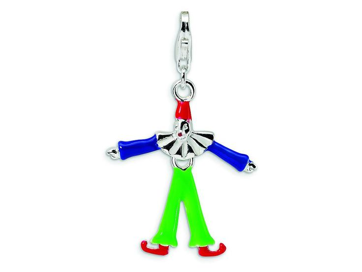 Amore LaVita Sterling Silver Movable and Enamel Clown w/Lobster Clasp Charm (Moveable) for Charm Bracelet