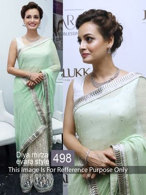 Dia Mirza White & Green Shaded Georgette With Net Designer Saree Bollywood Sarees Online on Shimply.com