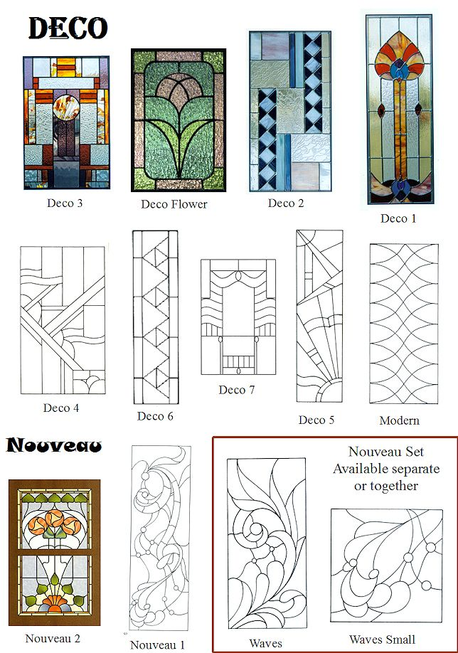 art deco nouveau stained glass windows - full size - ideas for patterns