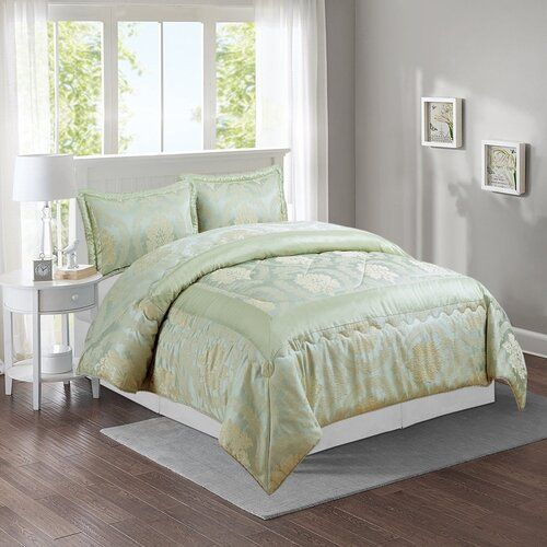 Samantha Bedspread Set Marlow Home Co Colour Light Green Size