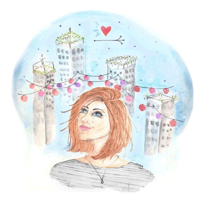 animation gif girl woman  music illustration watercolor