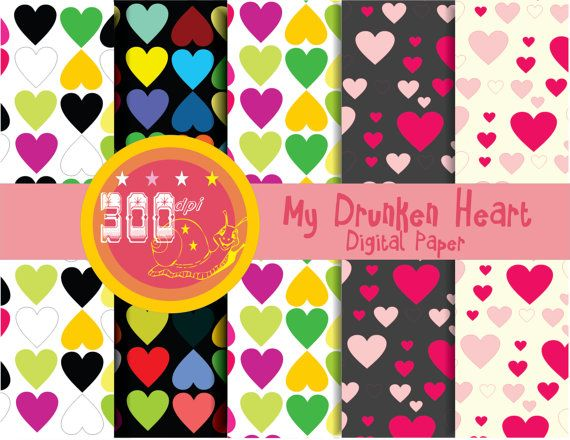 Hearts digital paper 'my drunken heart' multi color love hearts, say I love you in style with love hearts paper