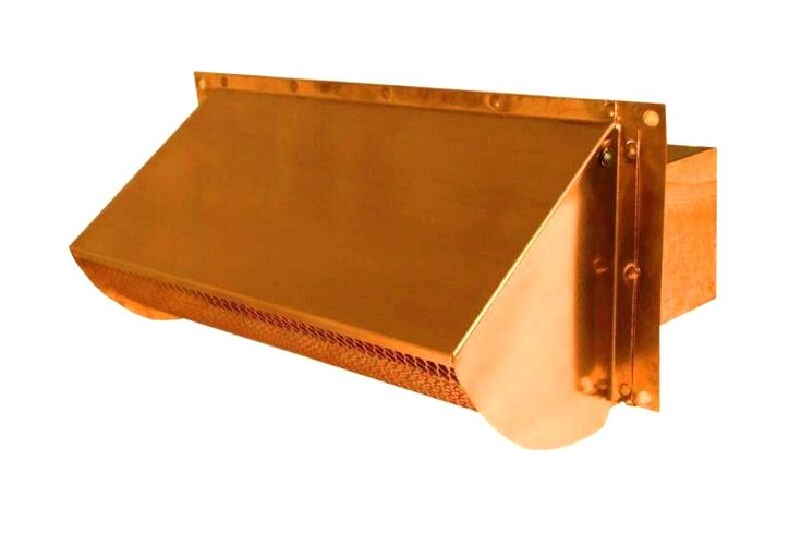 Copper Exterior Range Hood or Microwave Vent. Dimensions are 3.25 x 10. Screen is removable.  http://www.luxurymetals.com/range_hood_vents.html#anchor_805