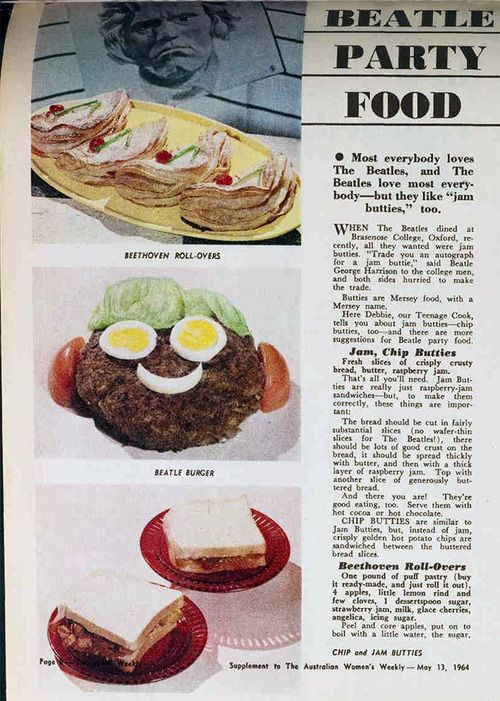 Beatle themed party food, 1964