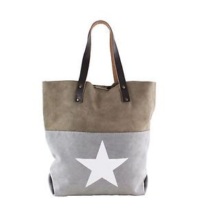 Damen-Tasche-Handtasche-Canvas-mit-Leder-in-grey-grau-mit-Stern