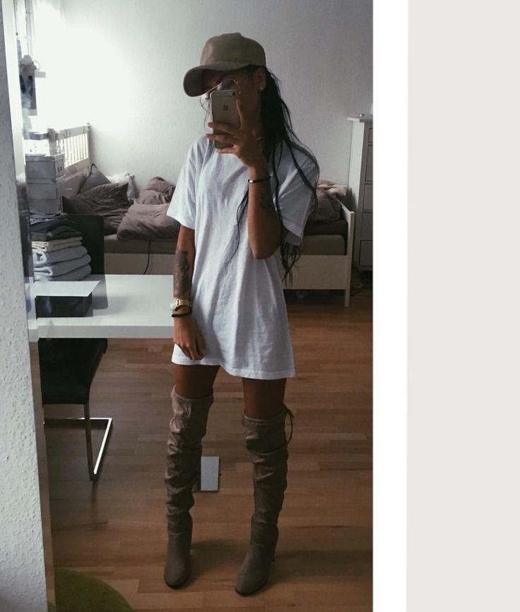 Skinny. Pretty. Thigh high boots. White tshirt. Tshirt dress.