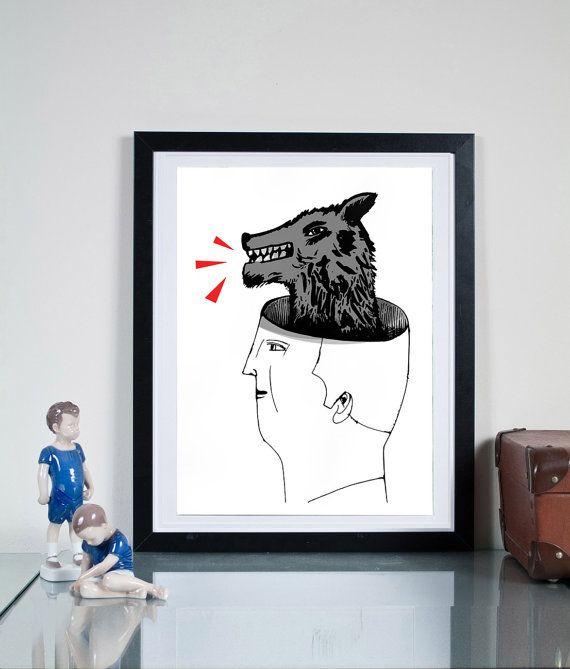 bad dog ... Illustration art giclée print Signed by Tomek Wawer #head #black #poster #Tomasz Wawer