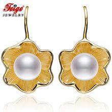 FEIGE Alta Calidad 7-8mm de Perlas de Agua Dulce Pendientes de Gota de color de Oro Genuino 925 Plata Esterlina Pendiente de La Perla Femenina joyería(China (Mainland))