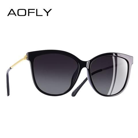 AOFLY BRAND DESIGN New Fashion Sunglasses Women Cat Eye Polarized Sun  Glasses Goggles Oculos De Sol f4ab7518752f