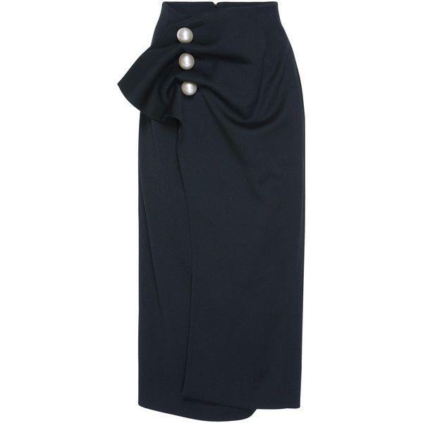 Kimhēkim Venus pearl button Skirt (4.730.250 IDR) ❤ liked on Polyvore featuring skirts, black, high waisted skirt, high rise skirts, high waisted skirts, high-waisted skirt and high-waist skirt