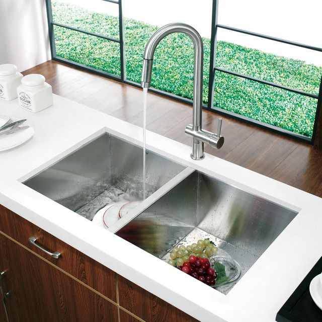 Kitchen Faucet With Pull Out Sprayer Distressed Table Modern Sink ... And -