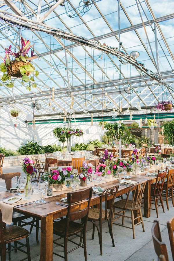 greenhouse wedding reception - photo by Lauren Fair Photography http://ruffledblog.com/rustic-elegance-at-the-horticulture-center