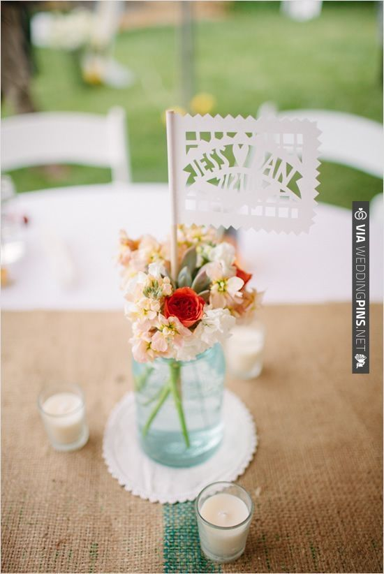 table decor with Papel Picado banners   VIA #WEDDINGPINS.NET
