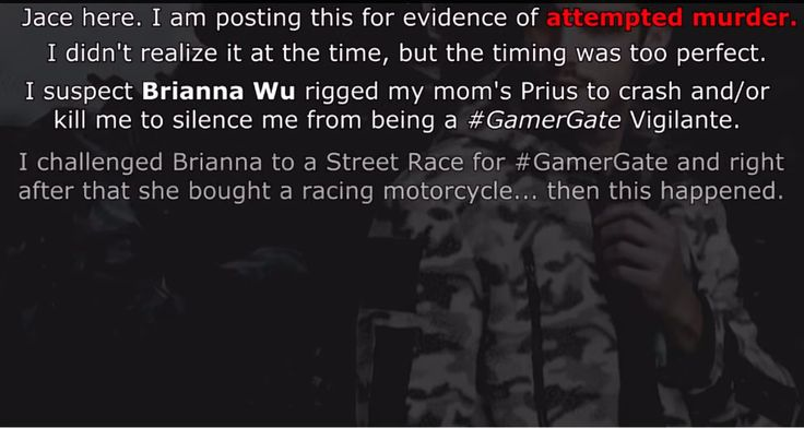 "Game developer and frequent Gamergate target Brianna Wu says she fears for her safety due to a bizarre and threatening YouTube video posted by a Massachusetts man this weekend. The man has posted several videos accusing Wu of trying to assassinate him; the newest video shows him standing next to his wrecked car, which he says he crashed on his way to ""confront"" her."