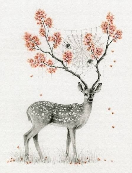 illustration, animal, deer, fawn, antlers, floral, bug ...
