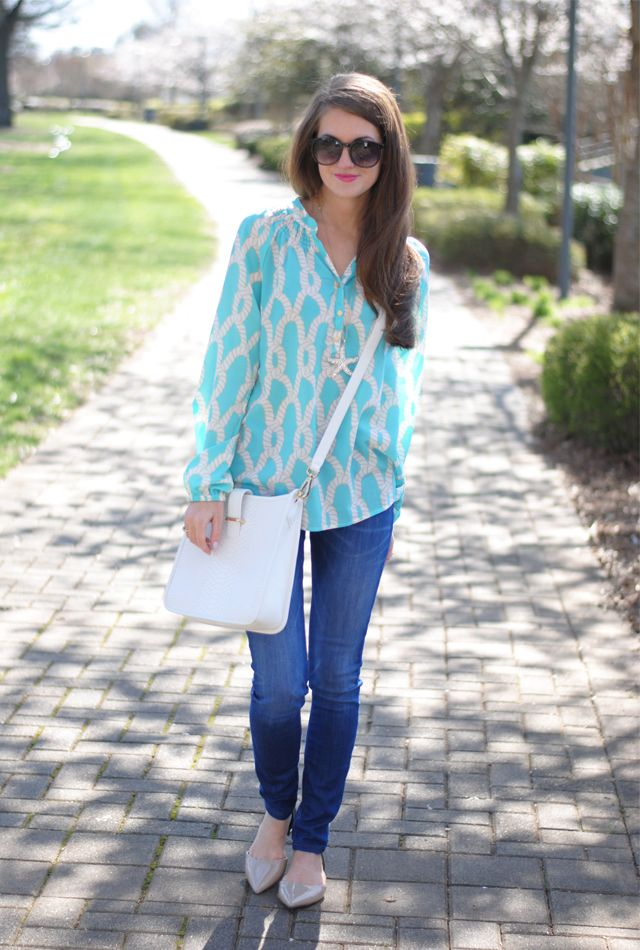 Nautical blouse + starfish necklace