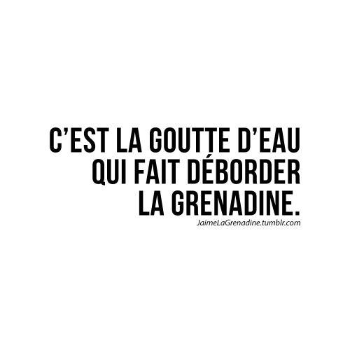 C'est la goutte d'eau qui fait déborder la grenadine - #JaimeLaGrenadine #marre #citation #punchline