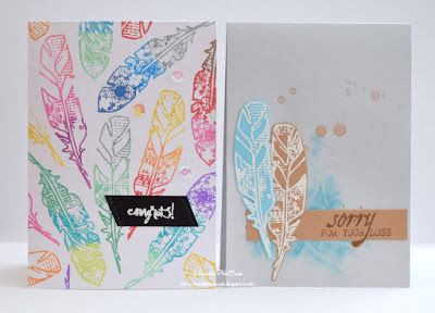 Playing along with the Twofer challenge using my favourite STAMPlorations feathers, Distress Oxides, and heat embossing to create a birthday and sympathy card using the same stamp set