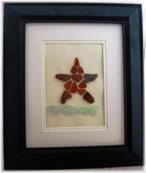 SALE  Real Sea Glass Framed Art  from Puerto by aquablueseaglass