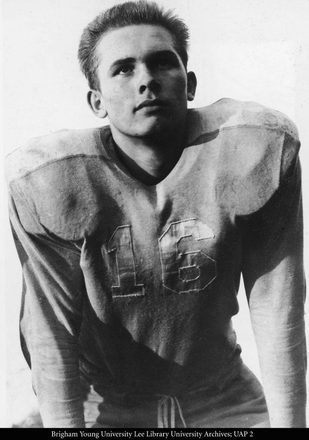 Dallin H. Oaks as a football player for Brigham Young High School circa 1946-50. Courtesy of BYU