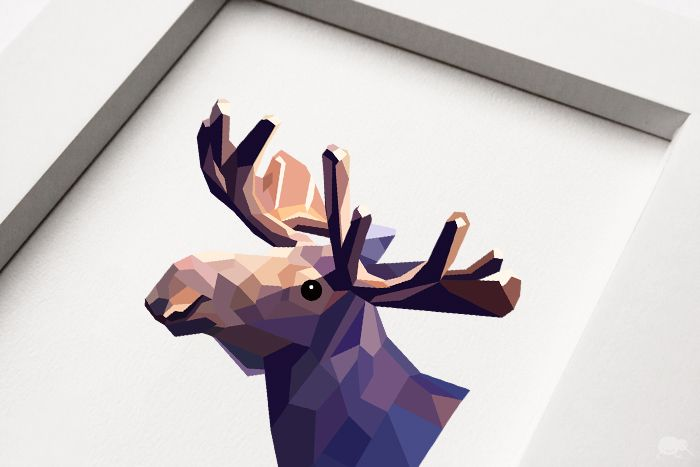 Moose, Geometric animal print, Original art | Felt