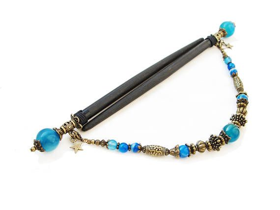 Set of 2 japanese wooden hair sticks with blue stripe agate