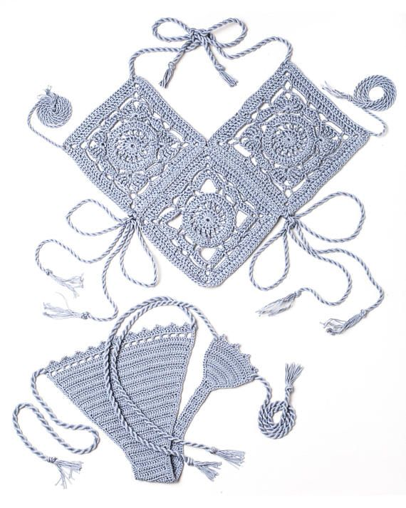 Tesoro de la Atlántida crochet Bikini en gris perla. Bikini – aslı aslıvar