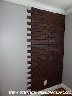 All Things Homie: Faux Brick Wall Lowes Faux Brick Wall Paneling, DIY notched to eliminate straight line....how clever