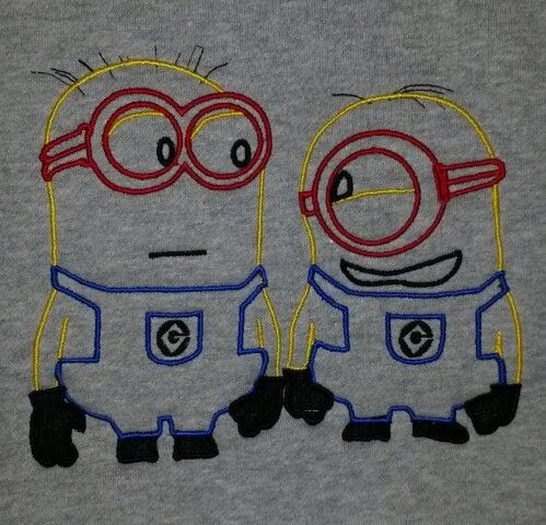 New look minions embroidered on hoodies.