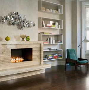 Gas fireplace - Mantels - modern fireplace decor.png. Our Aquamarine fire glass gemstones would go great in here: http://www.firecrystals.com/Aquamarine-1-4-p/10020.htm