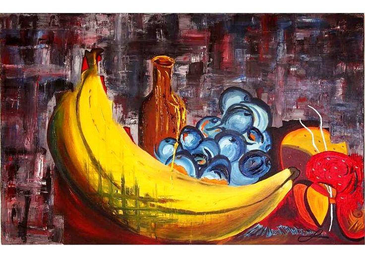 << Derrame frutal >> (bodegón).  75 X 90 cm. 2009. Precio: $1'000.000