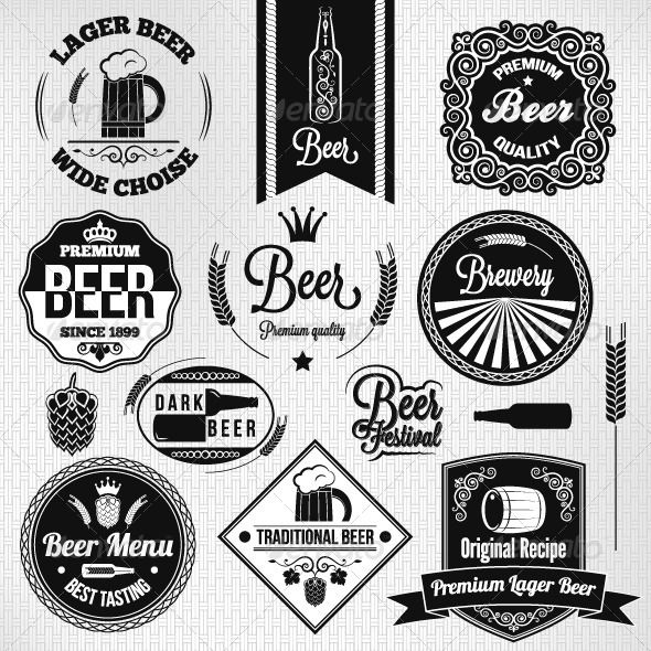 Vintage Beer Label Set