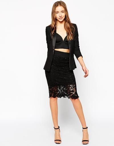 AX Paris Crochet Pencil Skirt at asos.com #skirt #officeday #women #covetme #muimui