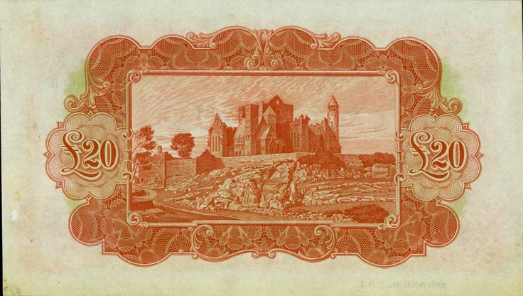 1978 £20 Ploughman - Bank of Ireland colour trial, printed in Orange, cancelled and overprinted Specimen (reverse, showing a magnificent engraving of the Rock of Cashel)