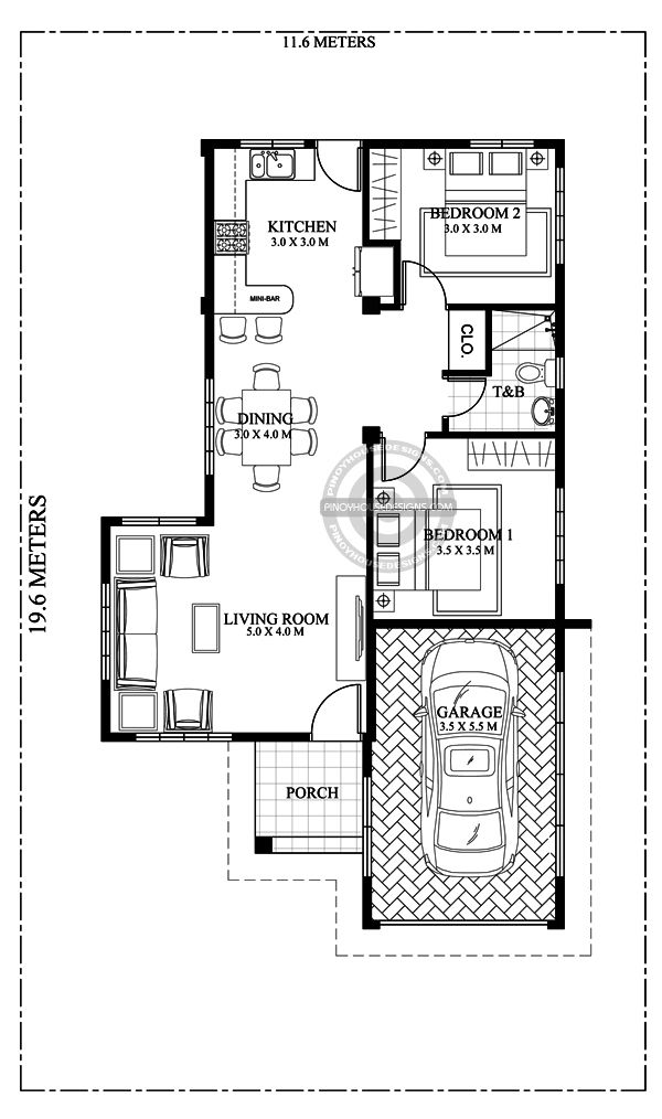 One Storey House Design Celeste Is A 2 Bedroom With Enclosed Garage That Can Be Built In A 277 Squar In 2020 One Storey House Bedroom House Plans 2 Bedroom House Plans