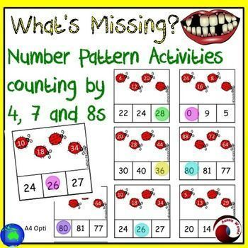 I use these as a Math Center Activity. These activity cards involve counting by 4, 7 and 8 to complete Missing Number Patterns. Filling in missing numbers in given patterns, in both ascending and descending order. This set has 54 activity cards with a lad