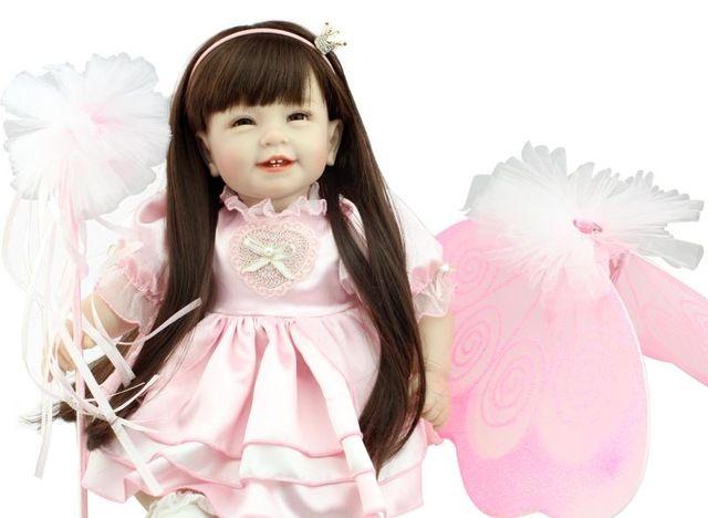 55 cm Silikon reborn babypuppen vinyl kleinkind prinzessin puppe spielzeug spielhaus spielzeug lebensechte kinder geburtstagsgeschenke mädchen brinquedos