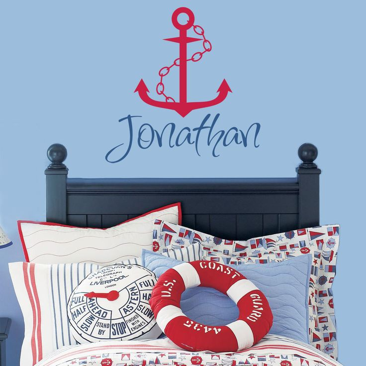 Personalized Nautical Name Vinyl Wall Decal - Sailboat Anchor & Chain - Baby Boy Nursery Toddler Teen Room 22H x 22W BN002 . $26.95, via Etsy.