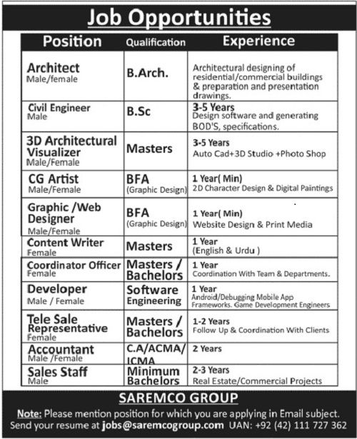 jobs in saremco group of companies for architect civil engineer