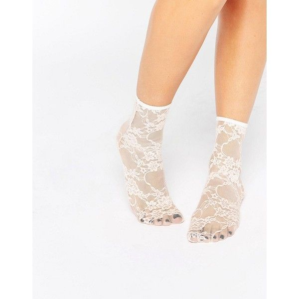 ASOS Lace Ankle Socks (120 MXN) ❤ liked on Polyvore featuring intimates, hosiery, socks, pink, ankle high socks, tennis socks, see through socks, sheer hosiery and floral socks